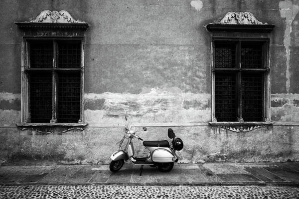 Street Photograph - Vespa Piaggio. Black And White by Claudio.arnese