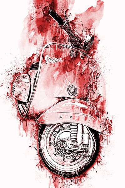 Painting - Vespa Scooter - 12 by Andrea Mazzocchetti