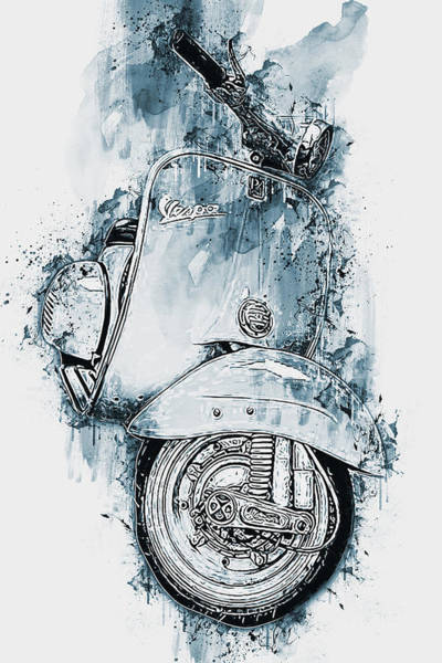 Painting - Vespa Scooter - 13 by Andrea Mazzocchetti