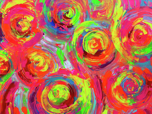 Neon Pink Painting - Vibrant Colourful Textured Relief Abstract Painting - Detail From Gypsy Dance 11 by Tiberiu Soos