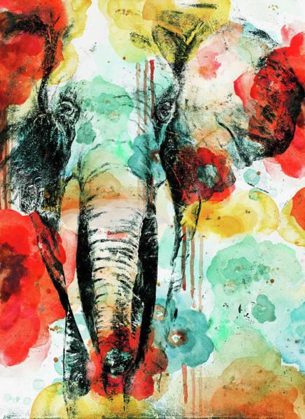 Wall Art - Painting - Vibrant Elephant by Patricia Pinto