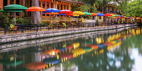 Photograph - Vibrant Panorama Of The San Antonio Texas Riverwalk by Gregory Ballos