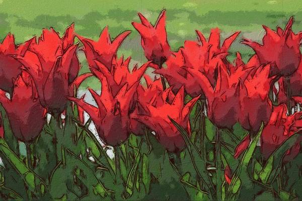 Painting - Vibrant Red Tulips  by Joy of Life Arts