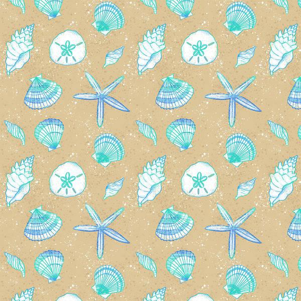 Painting - Vibrant Seashell Pattern Tan Sand Background by Jen Montgomery