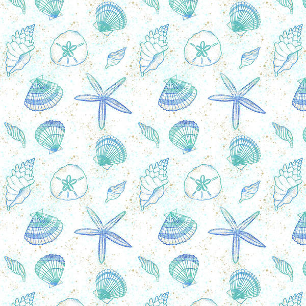 Painting - Vibrant Seashell Pattern White Background by Jen Montgomery