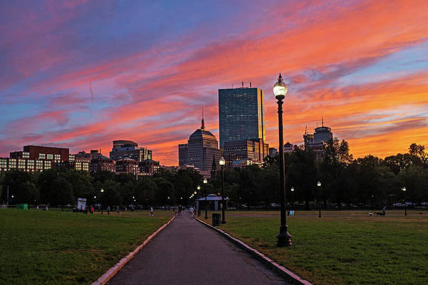 Photograph - Vibrant Sunset Over The Boston Common Boston Ma by Toby McGuire