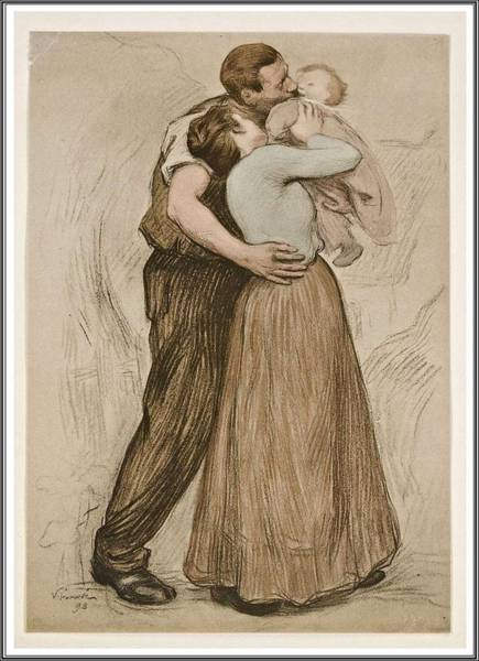Wall Art - Painting - Victor Emile Prouve  French  1858   1943 The Kiss  Le Baiser  1898  Collotype On Wove Paper by Celestial Images