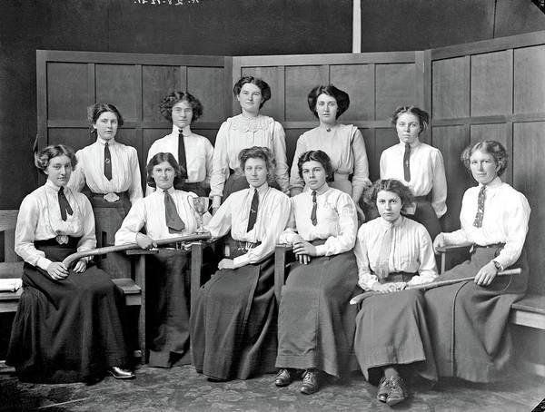 Painting - Victoria University College Women's Hockey Team, Wellington, 1911 By  Stanley Polkinghorne Andrew by Stanley Polkinghorne Andrew