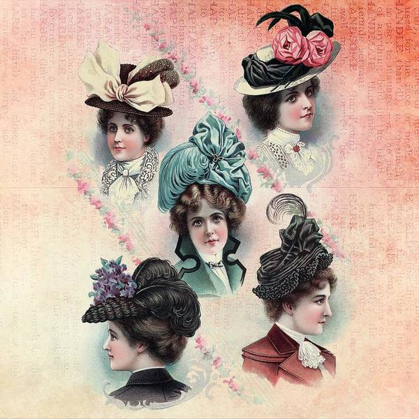 Painting - Victorian Ladies Hats Fashion Show by Shabby Chic and Vintage Art