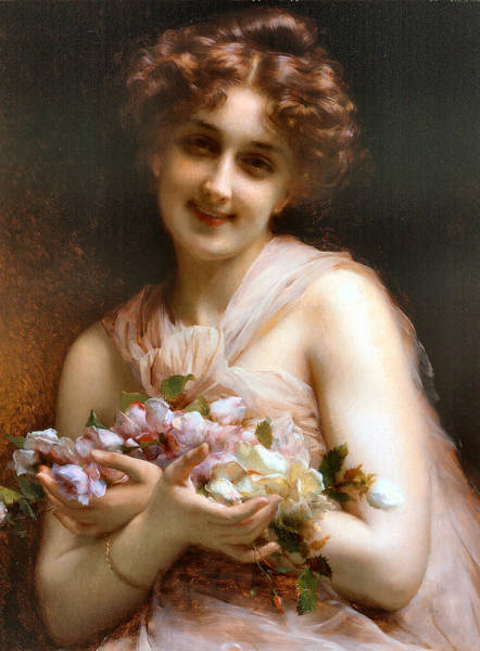 Painting - Victorian Lady With Flowers  by Vintage Art Gallery