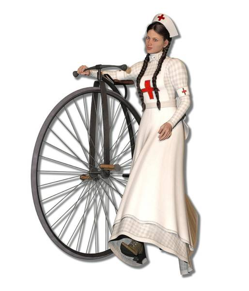 Wall Art - Digital Art - Victorian Nurse Along Penny Farthing Bicycle by Betsy Knapp