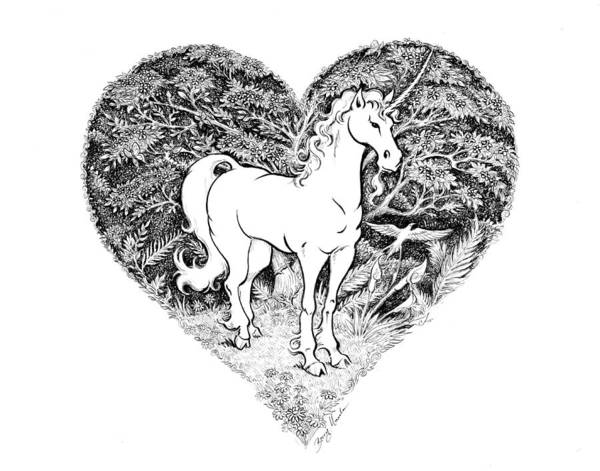 Drawing - Victorian Unicorn by Barry Munden