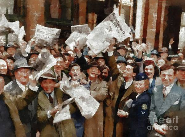 Dday Wall Art - Painting - Victory In Europe, Wwii by Mary Bassett