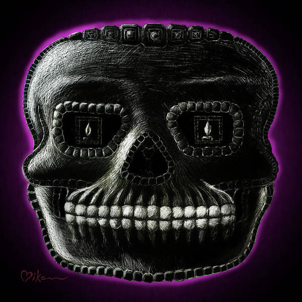 Wall Art - Painting - Watchman, Sugarskull Of Passing Time by Miko Zen
