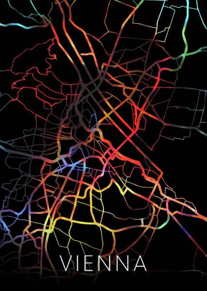 Wall Art - Mixed Media - Vienna Austria Watercolor City Street Map Dark Mode by Design Turnpike