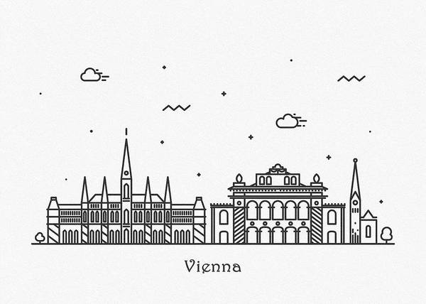 Drawing - Vienna Cityscape Travel Poster by Inspirowl Design