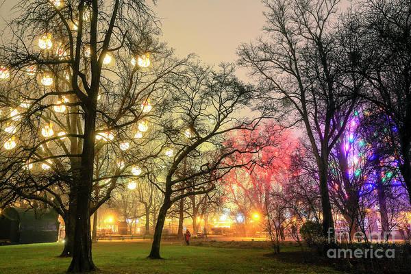 Photograph - Vienna Rathauspark Christmas Glow At Night by John Rizzuto