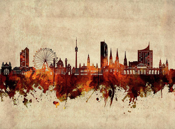 Wall Art - Digital Art - Vienna Skyline Sepia by Bekim M