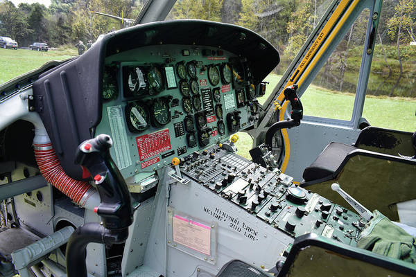 Copter Photograph - Vietnam Era Helicopter 049 Control Panel 01 by Thomas Woolworth
