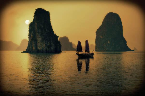 Wall Art - Photograph - Vietnam, Ha Long Bay, Silhouette Of by Daryl Benson