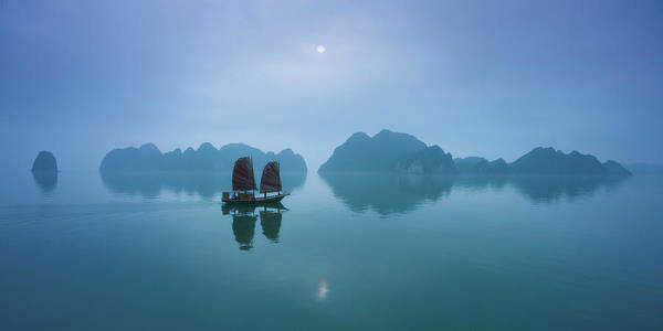 Wall Art - Photograph - Vietnam, Halong Bay, Fishing Junk by Daryl Benson