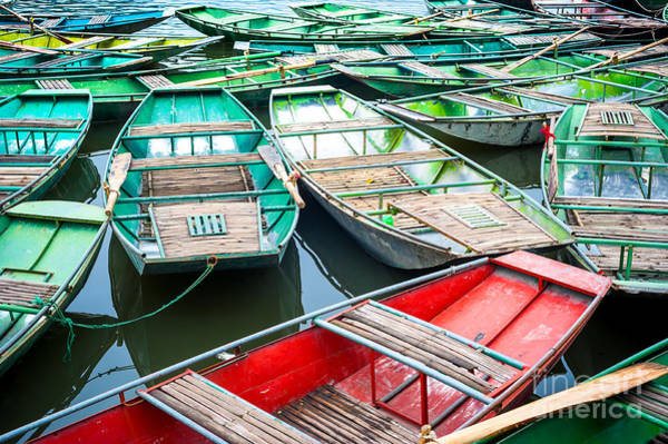 Float Wall Art - Photograph - Vietnamese Boats On The River Early In by Perfect Lazybones