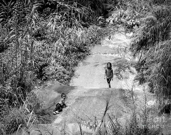Wall Art - Photograph - Vietnamese Children Mountain Water Slide Sapa  by Chuck Kuhn