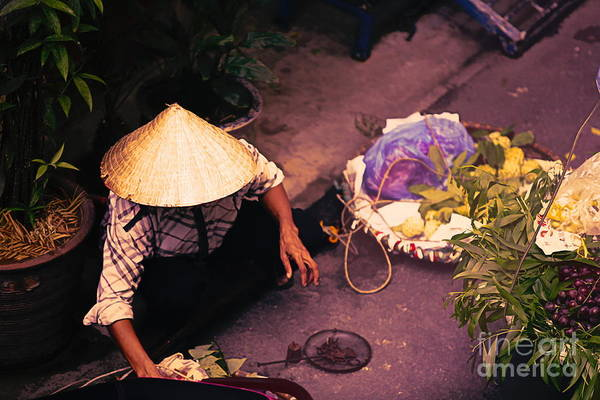 Wall Art - Digital Art - Vietnamese Selling Veggies Streets Of Hanoi  by Chuck Kuhn