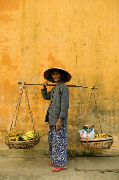Hoi An Photograph - Vietnamese Woman Copy Space Yellow Wall by Laughingmango