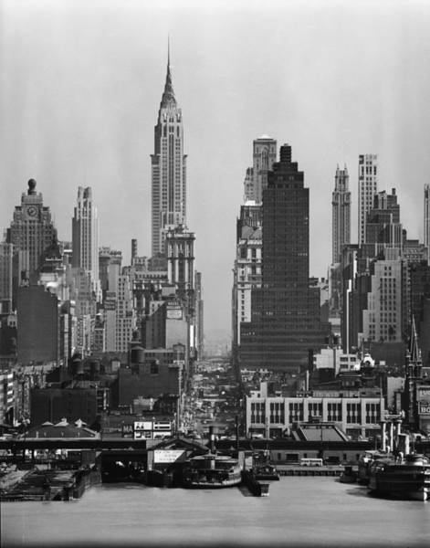 Vertical Perspective Photograph - View Along 42nd Street by Andreas Feininger