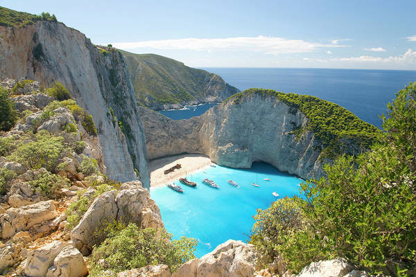 Bay Of Green Bay Wall Art - Photograph - View From Clifftop, Navagio Bay by David C Tomlinson