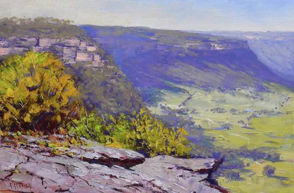 Rocky Mountains Wall Art - Painting - View From Hassons Wall Lithgow by Graham Gercken
