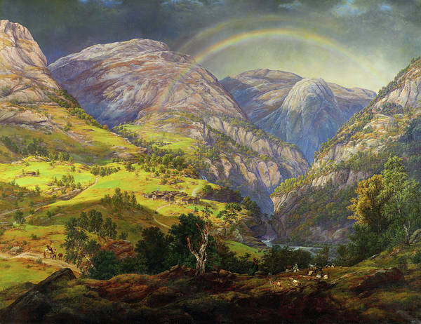 Wall Art - Painting - View From Stalheim, Fra Stalheim - Digital Remastered Edition by Johan Christian Dahl