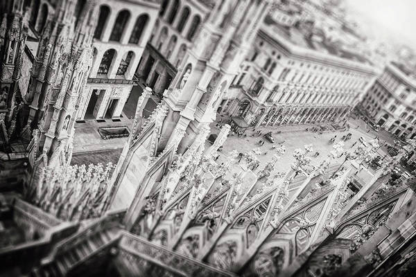 Duomo Photograph - View From The Duomo Milan Italy Black And White  by Carol Japp