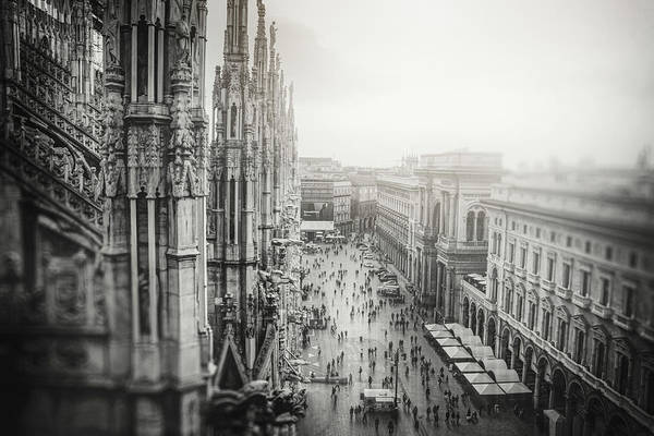 Wall Art - Photograph - View From The Duomo Rooftop Milan Italy Black And White  by Carol Japp