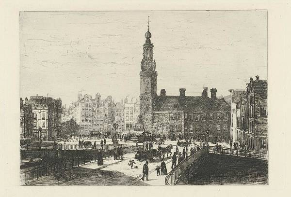 Wall Art - Painting - View Muntplein Amsterdam, Johan Conrad Greive, 1847 - 1891 by Johan Conrad Greive