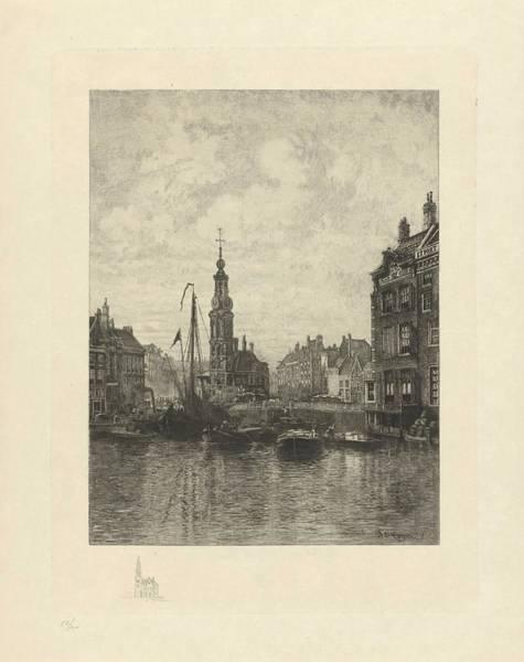 Wall Art - Painting - View Muntplein Amsterdam, Johan Conrad Greive, 1882 by Johan Conrad Greive