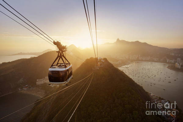 South Beach Wall Art - Photograph - View Of A Cable Car At Sunset, Showing by Claire Mcadams