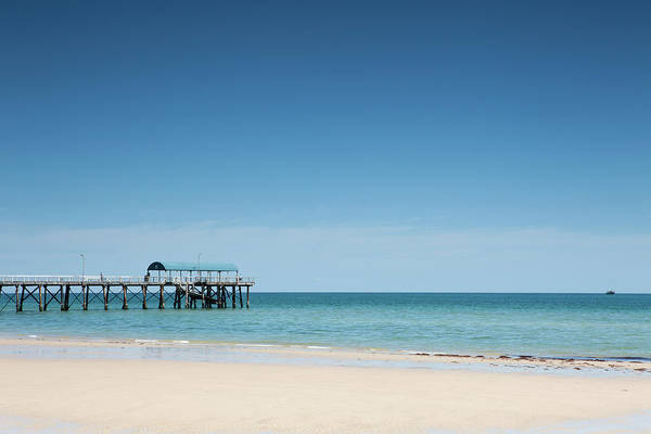 Wall Art - Photograph - View Of A Pier From A Sandy Beach by Caspar Benson