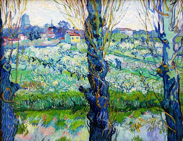 Wall Art - Painting - View Of Arles, Flowering Orchards - Digital Remastered Edition by Vincent van Gogh