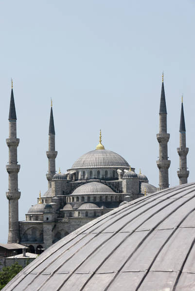 Hagia Sophia Photograph - View Of Blue Mosque From The Haghia by Martin Child