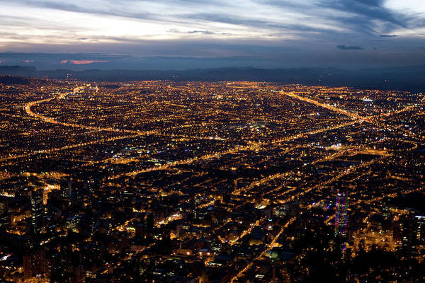 Colombian Wall Art - Photograph - View Of Bogota City In The Night by Hans Neleman