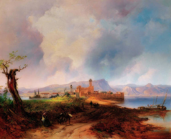 Wall Art - Painting - View Of Castell Sermio, On The Island Of Sirmione On Lake Garda by Anton Hansch