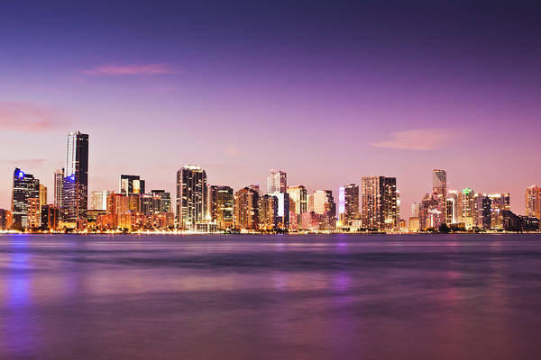 Biscayne Wall Art - Photograph - View Of City And Water At Dusk by Bob Stefko
