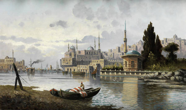 Wall Art - Painting - View Of Constantinople by Francois Leon Prieur-Bardin