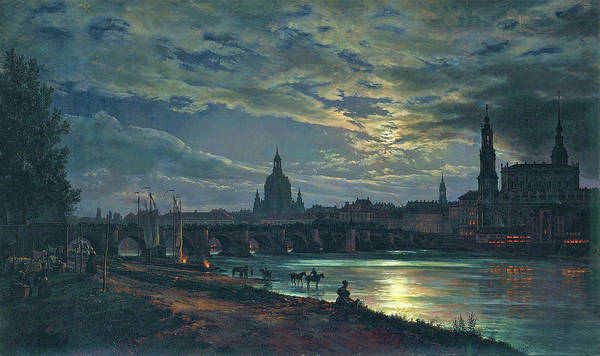 Lake District Painting - View Of Dresden By Moonlight - Digital Remastered Edition by Johan Christian Dahl