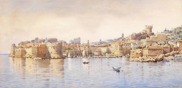 Wall Art - Painting - View Of Dubrovnik From The Sea by Anton Perko
