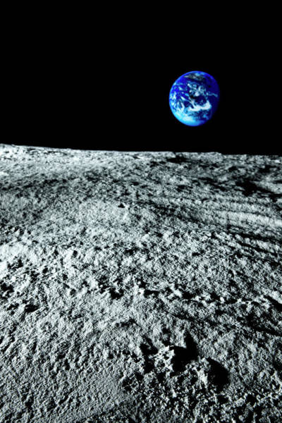 Satellite Image Wall Art - Photograph - View Of Earth From The Moon by Caspar Benson