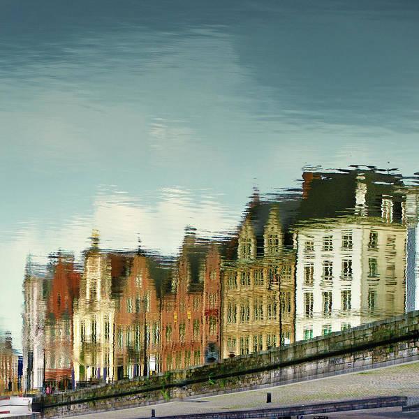 Belgium Photograph - View Of Ghent Reflection In Water by Elisabeth Schmitt