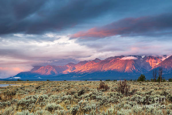 Wall Art - Photograph - View Of Grand Teton Mountain Range At by Victor Maschek